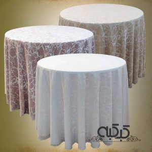 اجاره میز با گیپور - اجاره میز گرد با توری - کرایه میز با رومیزی توری گیپور